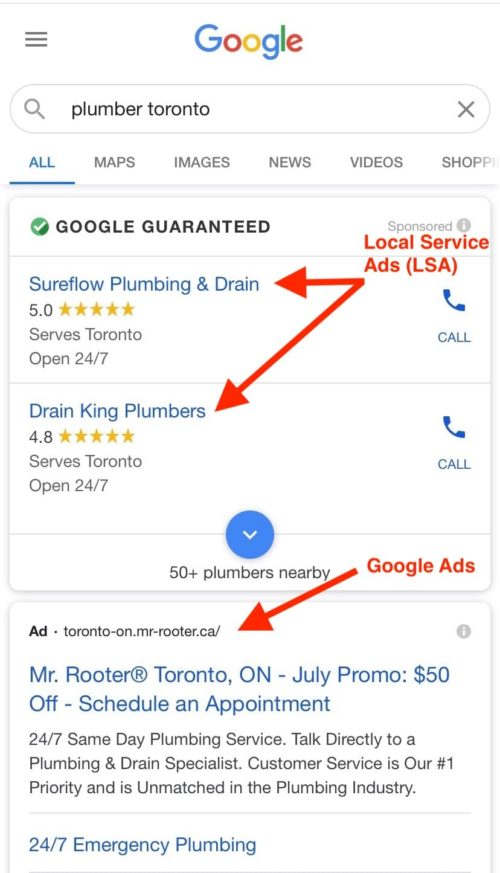 Plumbing ads: Examples of Google Ads