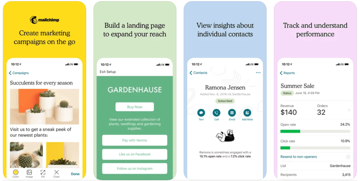 A mobile preview of the Mailchimp app for lawn care business marketing