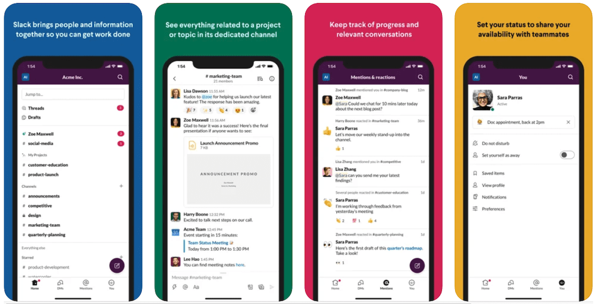 A mobile preview of the Slack communication app for lawn care service providers