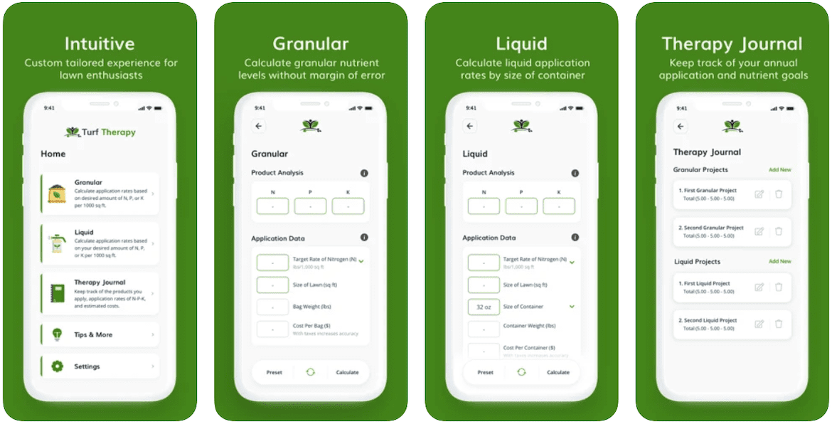 A mobile preview of the Turf Therapy lawn care app