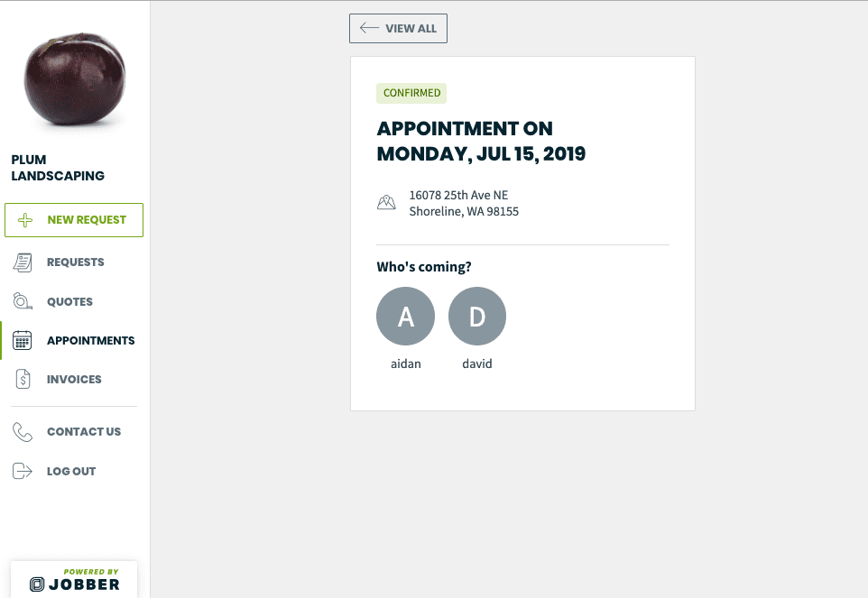 Customer self service portal showing a confirmed appointment