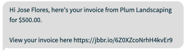 payment link sent via SMS to collect payment from client