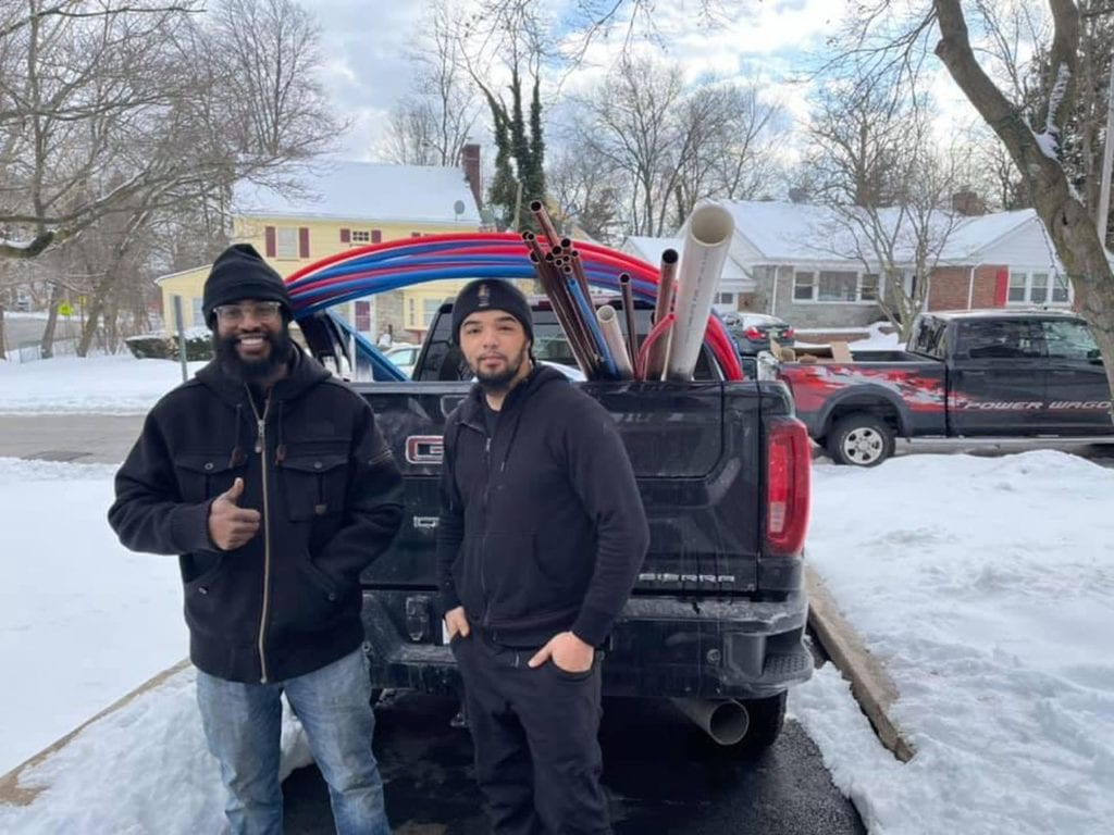 Isaiah Pinnock and Andrew Mitchell in in snow-covered Texas