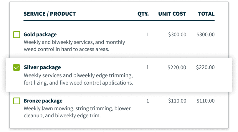 Lawn care quote with good, better, best packages