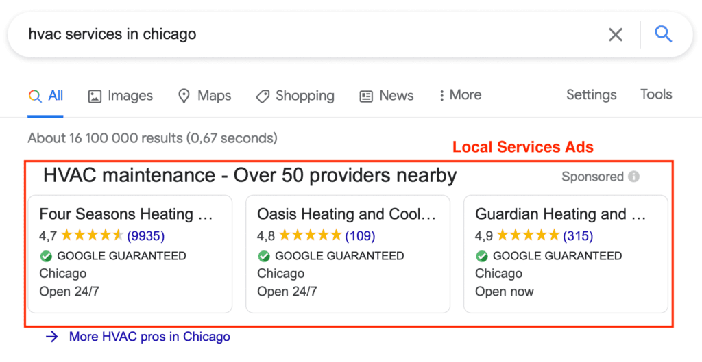 Example of a Google LSA for an HVAC business