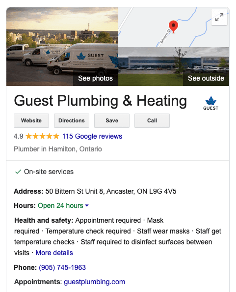 Google My Business listing for a plumbing and HVAC business