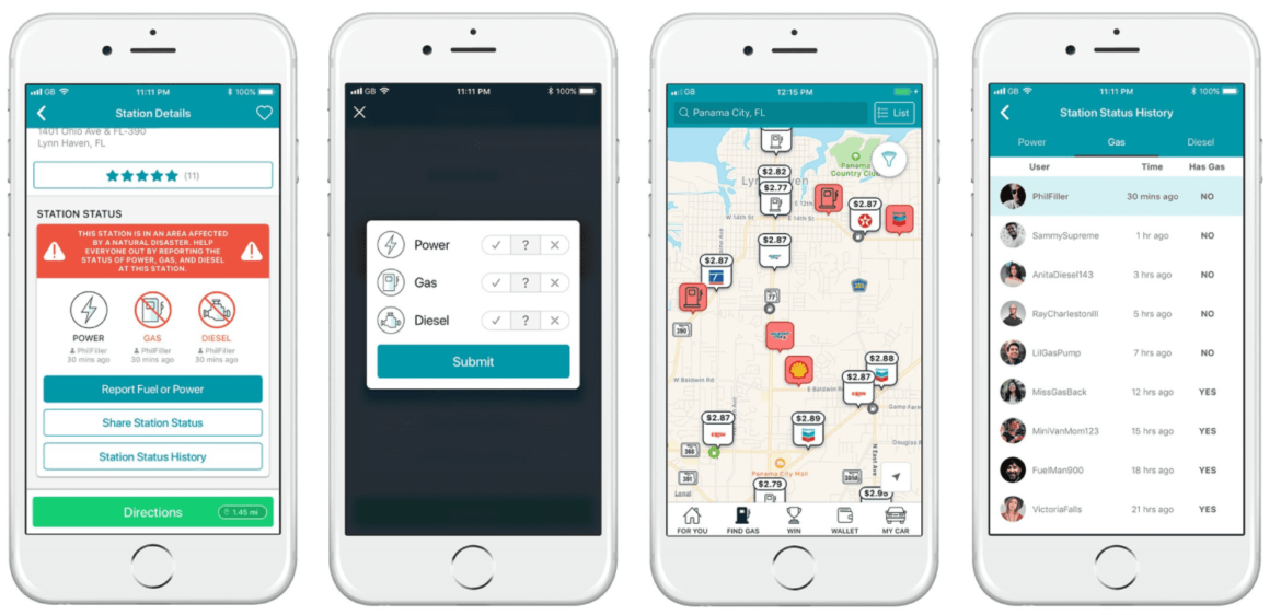 A mobile preview of the GasBuddy app for lawn care businesses