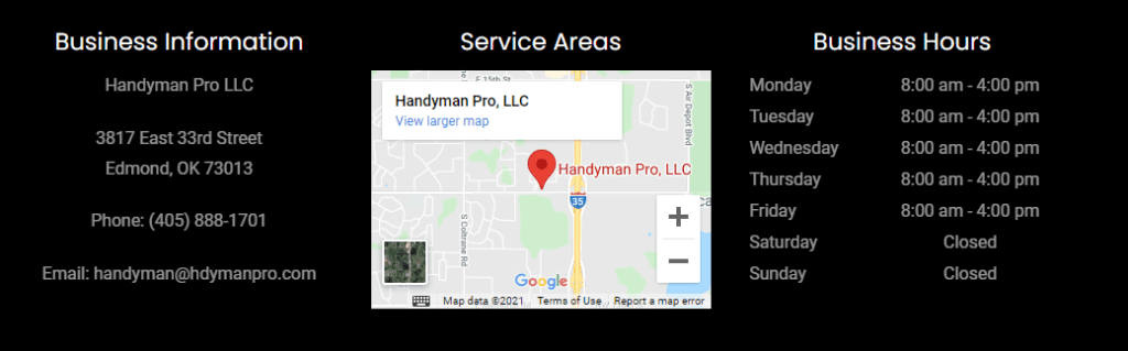 Example of business contact info on a handyman website