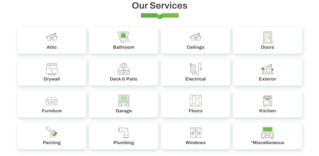 Example of handyman services on a website