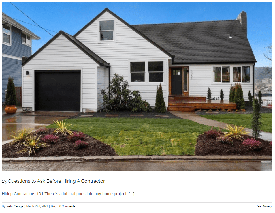 Example of a blog post on a handyman website