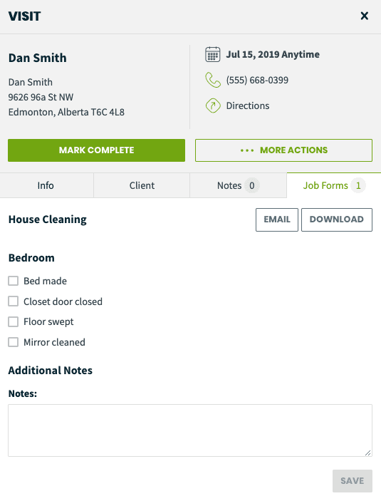 Screenshot of a house cleaning visit job form in Jobber's home service software
